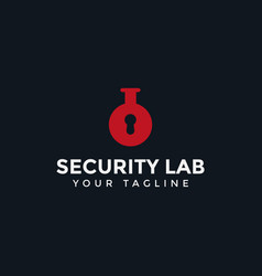 Security key hole lock and lab logo design vector