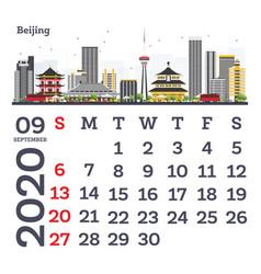 september 2020 calendar template with beijing vector image