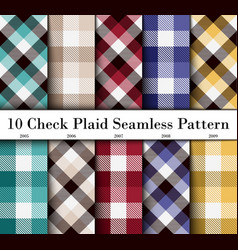 Set 10 check plaid seamless pattern in green vector