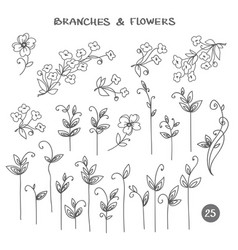 set branches hand drawn vector image