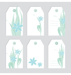Set of floral tags Blank labels Fowers vector