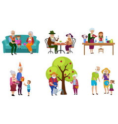 set of isolated senior people and their vector image