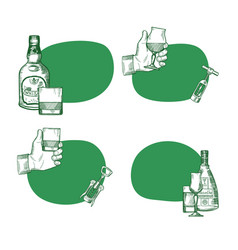 set stickers with hand drawn alcohol vector image