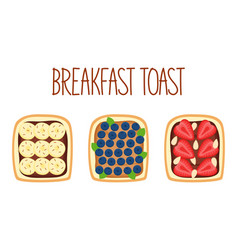 Set toasts for breakfast with different vector