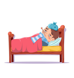 Sick boy lying in bed ill cold flu disease illness vector