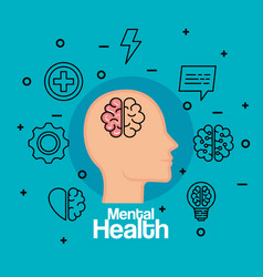 Silhouette man head with brain to health vector