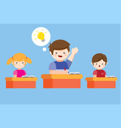 Smart child hands up ready to answer a question vector