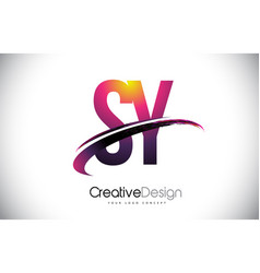 Sy s y purple letter logo with swoosh design vector