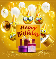 Template for happy birthday card smileys wearing vector