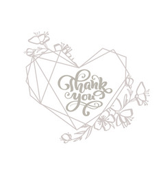 Thank you gray calligraphy lettering text vector