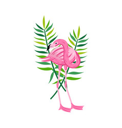 tropical bird and leaves element flat cartoon vector image