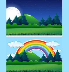 Two forest scenes night and day vector