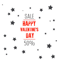 valentines day sale background with stars vector image
