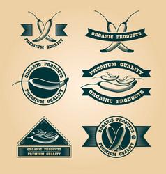 Vintage organic harvest stamps set vector