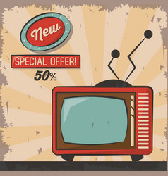 Vintage technology tv new special offer poster vector