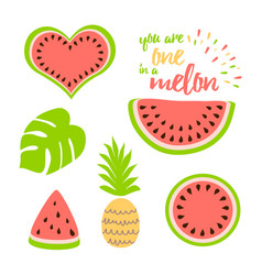 Watermelon clip art collection watermelon slice vector