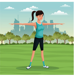 Woman sport park urban image vector