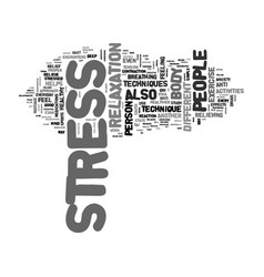 a healthy approach to stress text word cloud vector image vector image