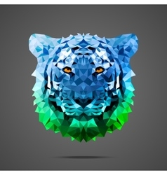 Bengal tiger poly Side light blue green vector image