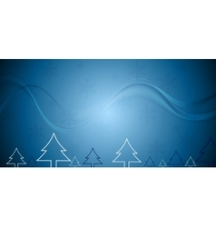 Blue Christmas background with fir trees vector image