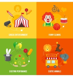 Circus retro icons composition vector image vector image