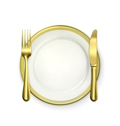 Gold dinner place setting vector image