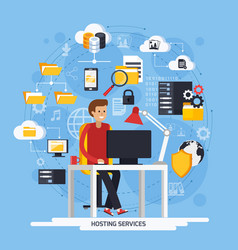 hosting services concept vector image vector image