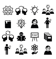 Knowledge creative thinking ideas icons vector image vector image