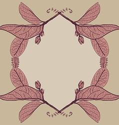 Leaves contours floral border Sketch frames vector image