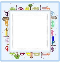 Baby greeting card or frame with cars vector image vector image