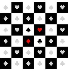 Card suits white black chess board diamond vector