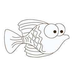 figure happy fish cartoon icon vector image vector image