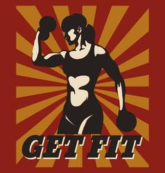 fitness retro poster vector image