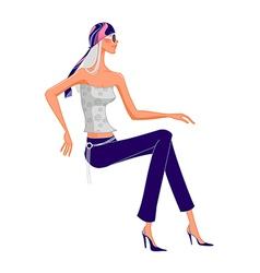 funky stylish woman vector image vector image