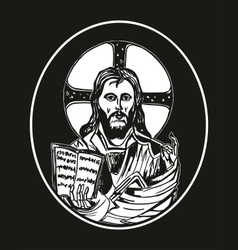 jesus and bible vector image