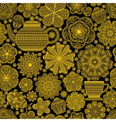 Seamless pattern with teapot vector