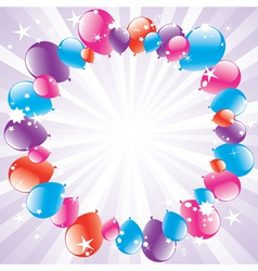 vector festive balloons and lightburst vector image