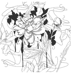 Black and white seamless pattern with flowers-02 vector image