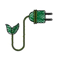 color crayon stripe cartoon green plug electricity vector image