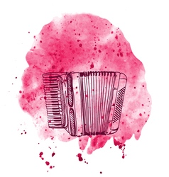 Hand drawn accordion on watercolor splash vector