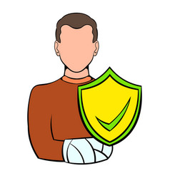 man with broken arm with shield icon cartoon vector image vector image