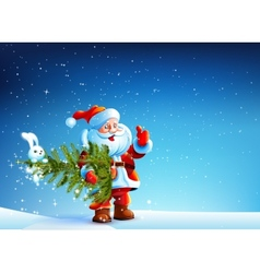 Santa Claus standing in snow and keeps the tree vector image