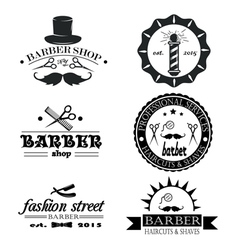 Set of vintage barber shop logo labels badges an vector image vector image