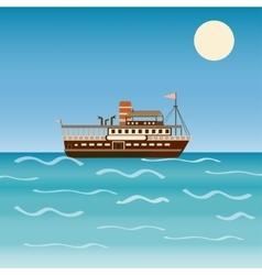 Water transport travel ship across sea river vector