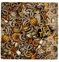 cartoon doodles of cafe coffee shop border vector image
