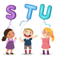 cartoon kids holding letter stu shaped balloons vector image