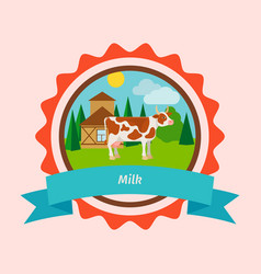 cow flat milk label design vector image vector image