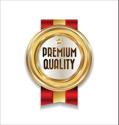 golden retro premium quality badge 1 vector image