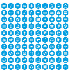 100 audience icons set blue vector