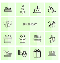 14 birthday icons vector